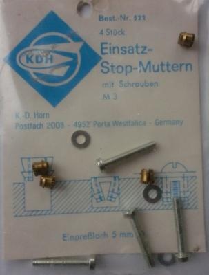 Einsatz-STOP-Muttern mit Schrauben M 3, 4 Stück
