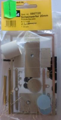 Scheinwerfer-Bausatz 20 mm f. LED 6-12 V, neusilber, -Neu-