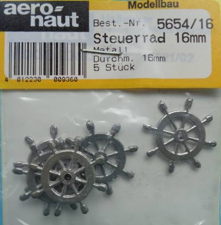 Steuerrad, Metall, 16 mm, 5 Stück