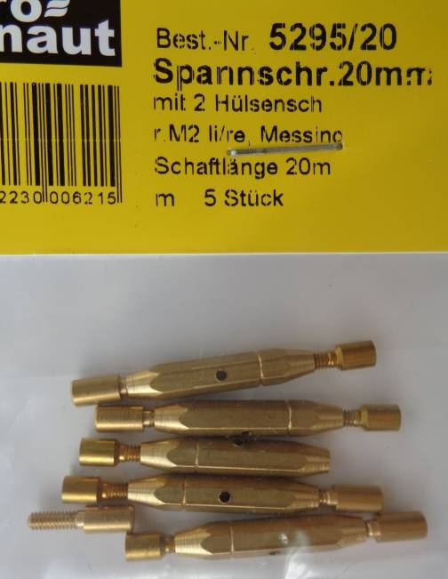 Spannschrauben (Messing) H/H 20 mm, 5 Stück