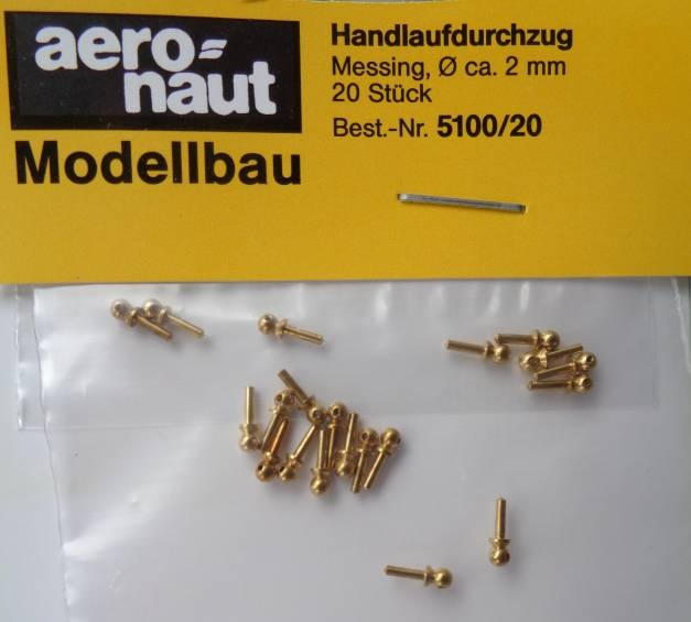 Handlaufstützen , messing, Durchm. 2,0 mm, 20 Stück