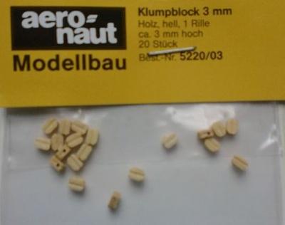 Klumpblock (Holz), hell, 3  mm hoch
