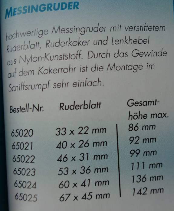 Messingruder 67 x 45 mm Rohr +  Ruderhebel