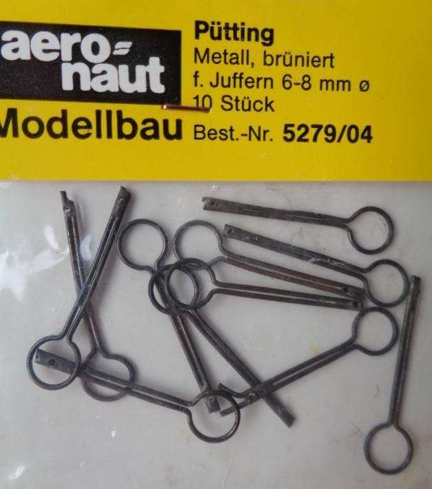 Pütting, Metall brüniert, für Juffern-Ø 6 - 8  mm, 10 Stück