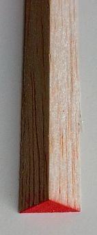 Balsa-Dreikantleisten,  1 Stück, 8 x 8 mm