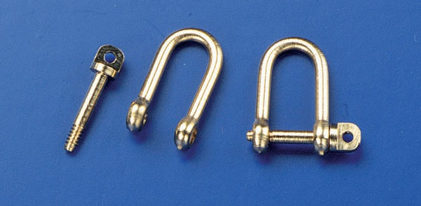 Schäkel, schraubbar, 4 x 7 mm, M 1,  2 Stück  -NEU-