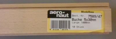 BUCHEN-Vierkantleisten  5 x 30 mm, 1 m lang, 10 Stück