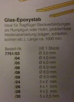 Epoxyd-Rundstab Ø 4 mm, Länge 1 m