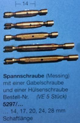 Spannschrauben (Messing) G/H 17 mm, 5 Stück