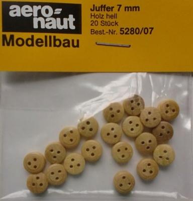 Juffern, Holz, hell,  7 mm, 20 Stück
