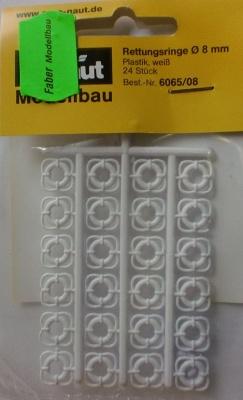 Rettungsringe  8mm weiß, 24 Stück