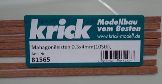 Mahagonileisten 0,5 x 4 mm, 1 m lang, 10 Stück