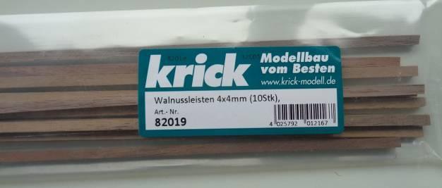 Walnussleisten 4x4mm (10Stk)