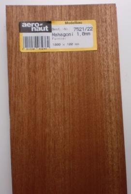 MAHAGONI-Furnier, 1000x100x1.0 mm, 10 Stück