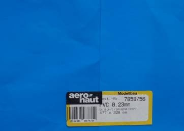 PVC blau-transparent, 477x328 mm, Stärke 0,23 mm