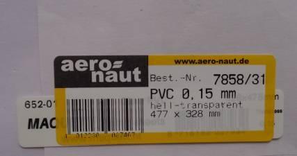 PVC klar-transparent, 477x328 mm, Stärke 0,15 mm