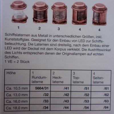 Rundum-Laterne, Höhe ca. 16 mm, 2 Stück
