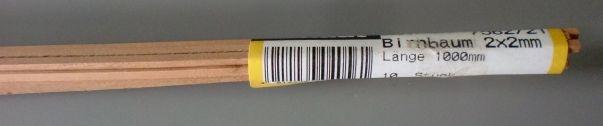 BIRNBAUM-Vierkantleisten  2 x 2 mm, 1 m lang, 10 Stück