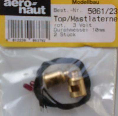 Top- und Mastlaternen 3 V,  Ø 10mm, Höhe 15 mm, rot, 2 Stück