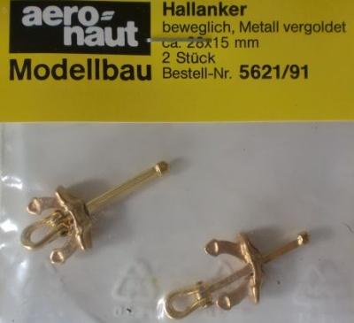 Hallanker, beweglich, Metall vergoldet, 28 mm