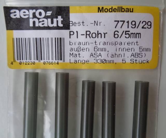 5xPlastikrohre,braun-transp.,330mm,außen 6 mm/innen5mm, rund