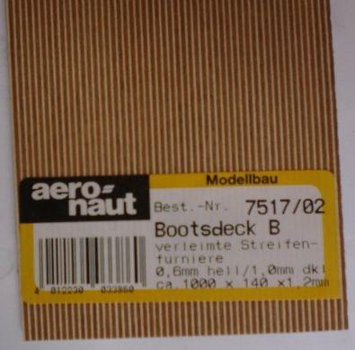 BOOTSDECK 0,6h/1,0d, Länge 1 m, Breite 15 cm (2 x 7,5 cm)