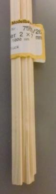 Kiefernleisten 2 x 7 mm, 1 m lang, 10 Stück