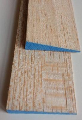 Balsa-Endleisten, blau, 8 x 35 mm, 1 m lang