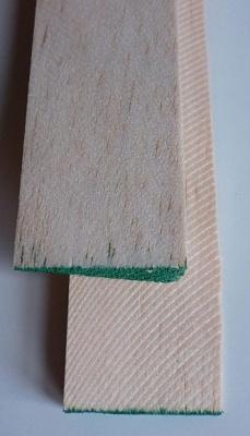 Balsa-Endleisten, grün , 10 x 30 mm, 1 m lang