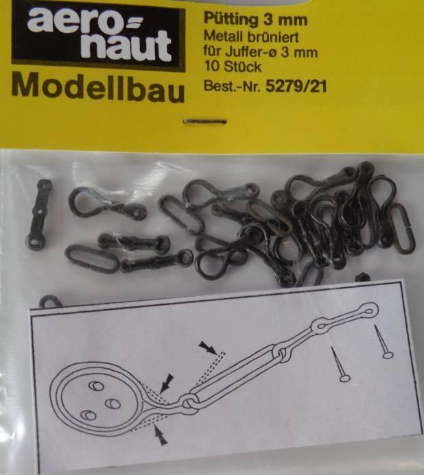 Pütting, Metall brüniert, für Juffern-Ø 3  mm, 10 Stück
