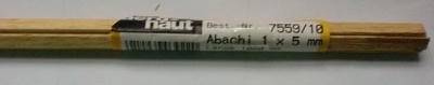 ABACHI-Vierkantleisten  1 x 5 mm, 1 m lang, 10 Stück