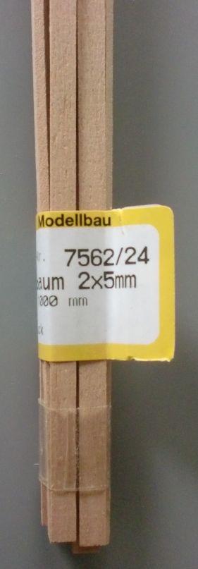 BIRNBAUM-Vierkantleisten  2 x 5 mm, 1 m lang, 10 Stück