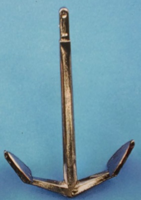 Histr. Anker, Metall brüniert, mit eckigem Armen, 60 x 40 mm