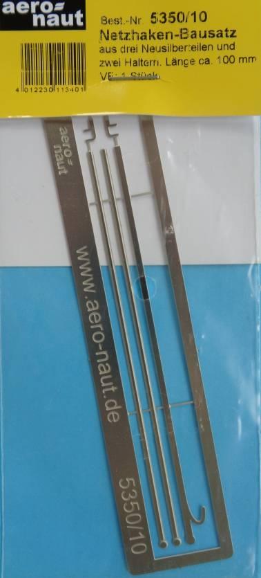 Netzhaken, Bausatz aus 3  Neusilberteilen, 10 cm lang
