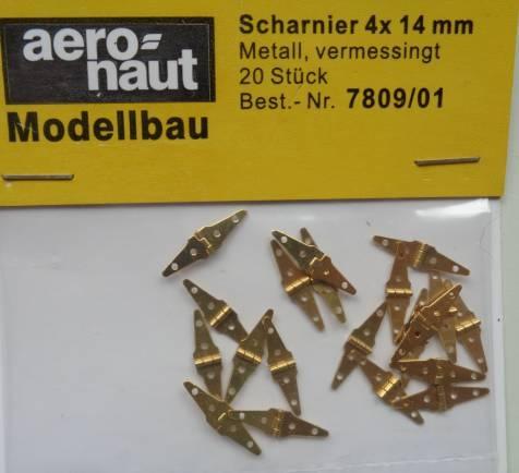 SCHARNIERE, Metall, vermessingt,  4 x 14 mm, 20 Stück