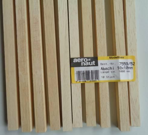 ABACHI-Vierkantleisten  10 x 10 mm, 1 m lang, 10 Stück