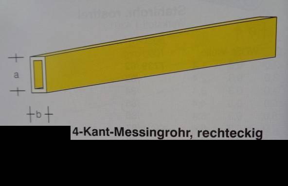 4-Kant-Messingrohr, rechteckig, 1,5 x 1,0 mm, WDST. 0,20 mm