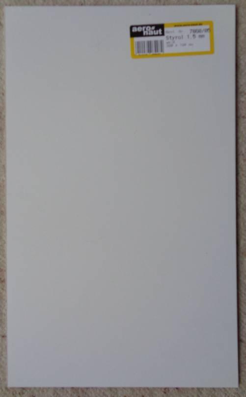 Styrol-Platten, weiß, Stärke 1,5 mm, 320 x 194 mm