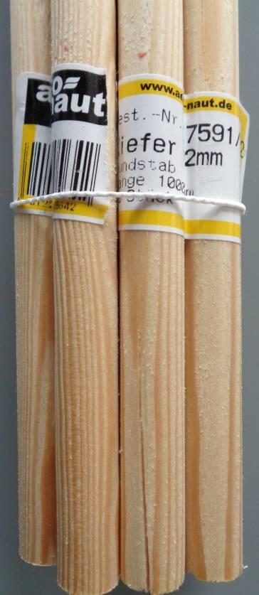 Kiefer-Rundstab Ø 12 mm, 1 m lang
