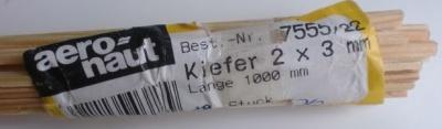 Kiefernleisten 2 x 3 mm, 1 m lang, 10 Stück
