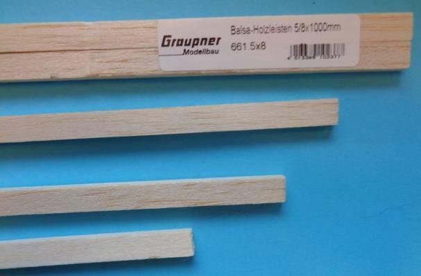 Balsaholz-Vierkantleisten  5x8 mm