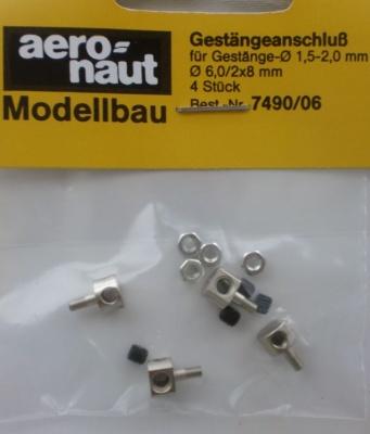 Gestängeanschluß Gestänge-Ø 1,5-2,0 mm,  6,0/2x8 mm