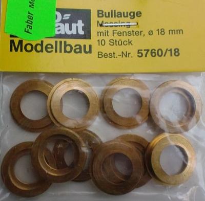 Bullauge Ms Ø 18mm, innen 13 mm, 10 Stück