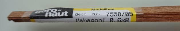 MAHAGONI-Vierkantleisten  0.6 x 8 mm, 1 m lang, 10 Stück