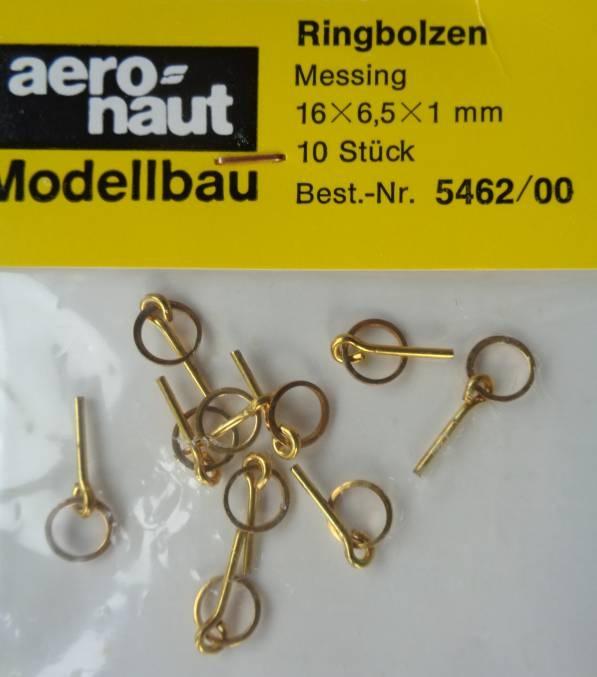 Ringbolzen (Messing) 16 x 6,5 x 1,5 mm, 10 Stück