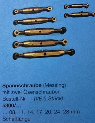 Spannschrauben (Messing).Ö/Ö  24 mm, 5 Stück