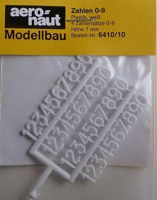Zahlen Plastik, weiß, 4 Zahlensätze 0-9,  7 mm hoch