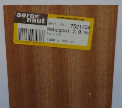 MAHAGONI-Furnier, 1000x100x2.0 mm, 10 Stück