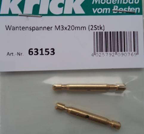 Wantenspanner mit Schlitzendstück M 3 x 20 mm, 2 Stck.