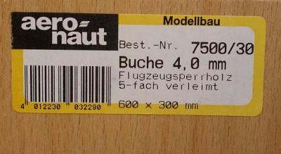 Buchen-Flugzeug-Sperrholz 600 x 300 x 4.0 mm, 5-fach verl.
